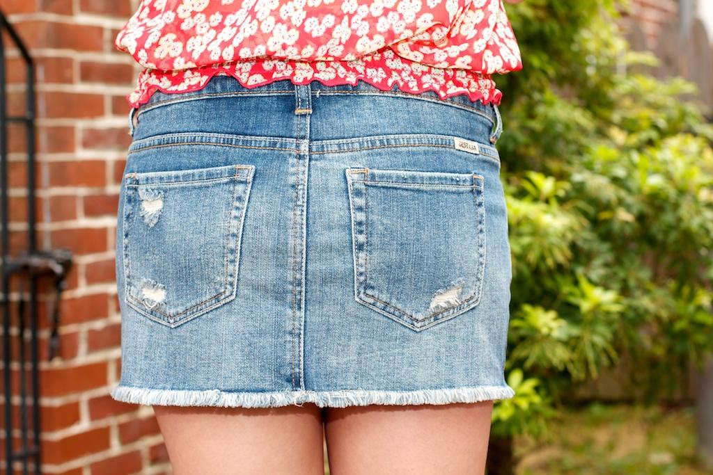Cut Off Denim Skirt
