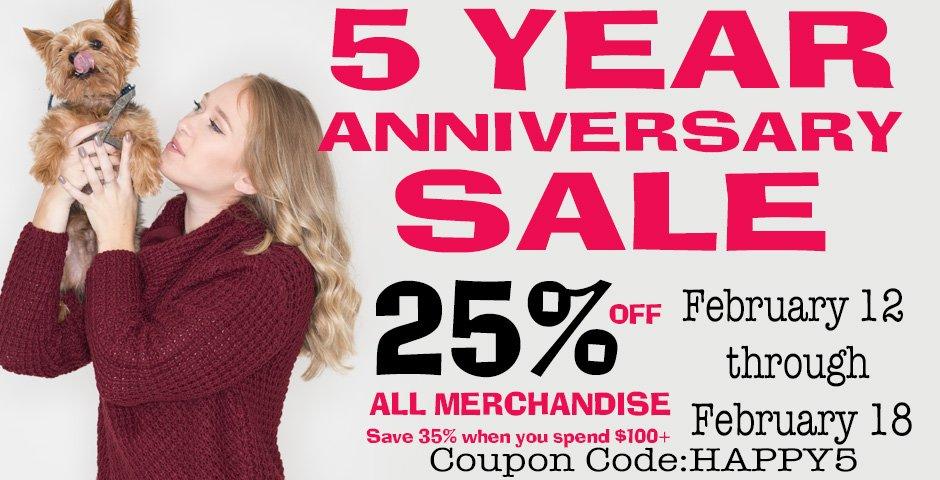5 Year Anniversary Sale