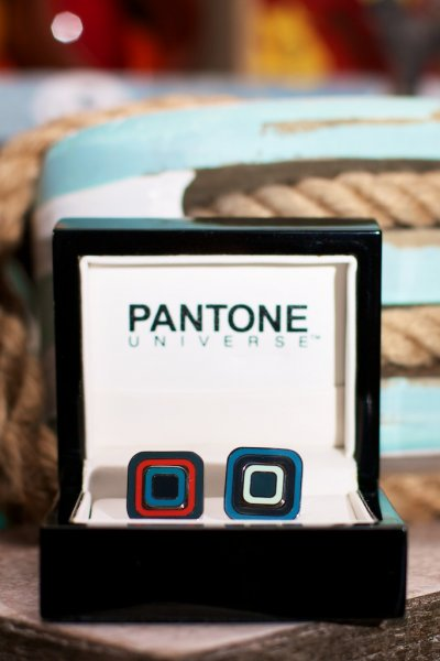 Rounded Square Bullseye Pantone Cuff Links by Sonia Spencer England