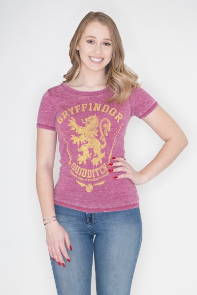 Harry Potter House Gryffindor Jrs Oil Washed Tee by Bioworld
