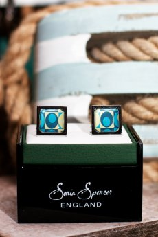 Retro Pattern Cuff Links by Sonia Spencer England