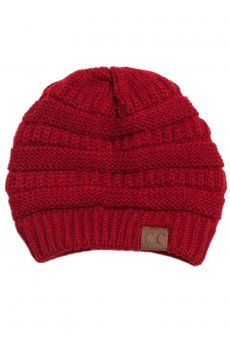 Red Knit Beanie by C.C.