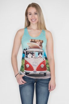 Cats on a Surfing Vacation Tank by Bear Dance