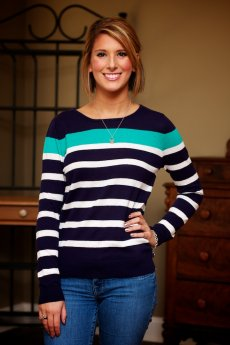 Teal Stripe Sweater by Timing