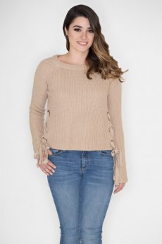 Side Lace-Up Sweater by She and Sky
