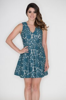 Floral Lace Fit And Flare Dress by She and Sky