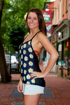 All Over Sunflower Chain Back Top by The Classic