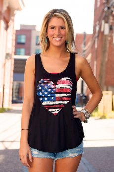 Racerback American Heart Tank Top by HL