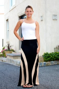 Color Blocked Striped Maxi Skirt by leshop