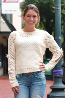 Open Sleeve Bow Sweater by The Classic