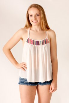 Embroidered Trim Tank Top by Fashion On Earth