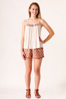 Crochet Trim Floral Shorts by Fashion On Earth
