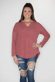 Faux Suede Elbow And Lace-Up Back Sweater by She and Sky