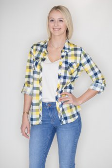Yellow And Navy Plaid Button Down by Win Win