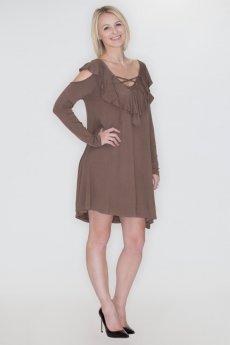 Cold Shoulder Ruffle Dress by Cherish