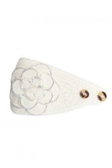White Floral Knit Headband by CC