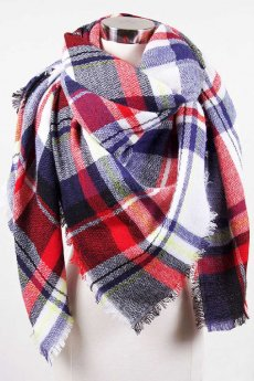 Navy Plaid Blanket Scarf by Love of Fashion