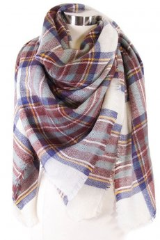 White Plaid Blanket Scarf by Love of Fashion