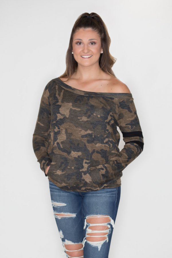 c0a7b983f92706 Camouflage Off Shoulder Top by Cherish
