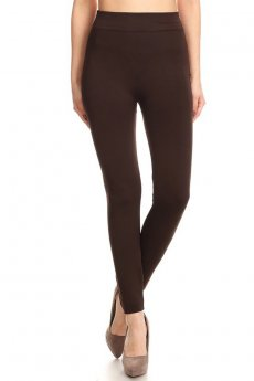 Dark Brown Fleece Leggings by Joinall