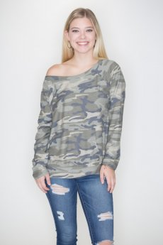 Off Shoulder Camouflage Top by Cherish