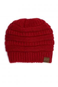 Red Fuzzy Lining Beanie by C.C.