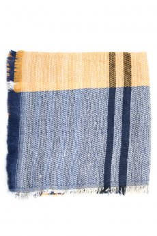 Yellow and Blue Plaid Blanket Scarf