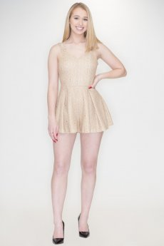 Gold Strappy Back Romper by She and Sky