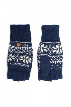 Navy Snowflake Convertible Gloves by C.C.