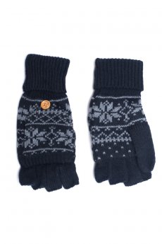 Black Snowflake Convertible Gloves by C.C.