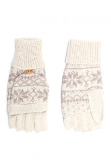 Beige Snowflake Convertible Gloves by C.C.