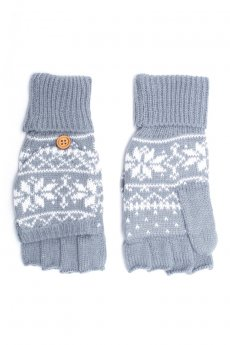 Grey Snowflake Convertible Gloves by C.C.
