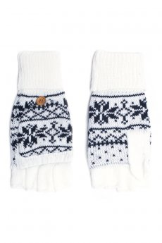 White Snowflake Convertible Gloves by C.C.