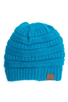 Teal Fuzzy Lining Beanie by C.C.
