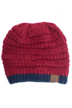 Red Two Tone Cuff Beanie by C.C.
