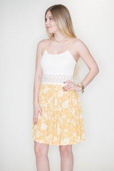 Floral Crochet Waist Dress by Favlux