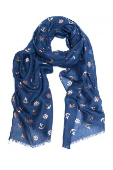 Navy Foil Anchor Scarf by Love of Fashion