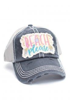 Beach Please Black Baseball Cap