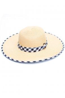 Gingham Straw Hat by C.C.