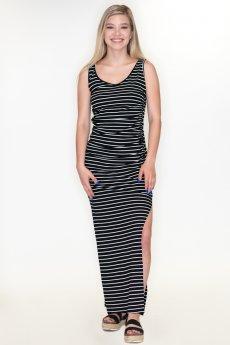 Ruched Striped Midi Dress by Cherish