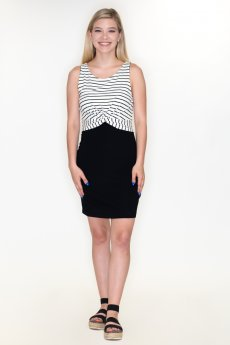 Twist Front Striped Dress by Cherish