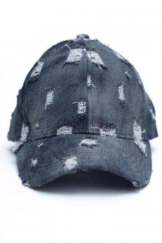 Black Distressed Denim Baseball Cap by C.C.