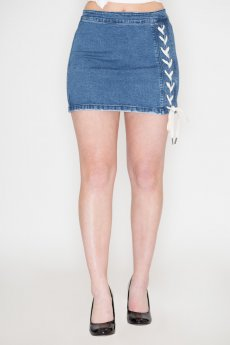 Lace-Up Denim Skirt by Listicle