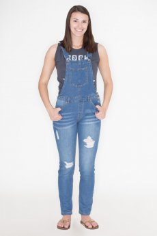 Distressed Denim Overalls by Love Tree