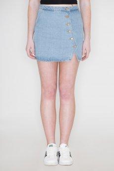 High Waisted Button Down Denim Skirt by Honey Belle